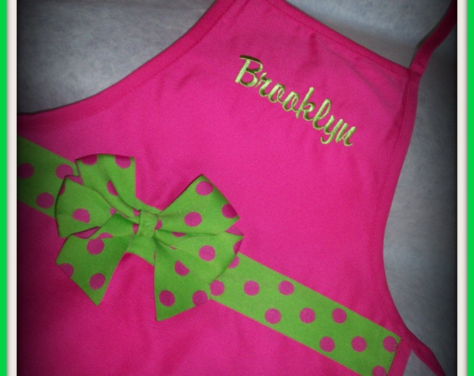 Kids personalized apron - Girl's apron - Hot pink - Lime green - girl cooking apron -  Toddler chef apron - monogrammed apron - art apron