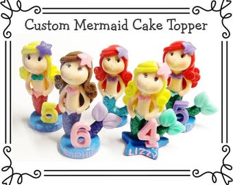 Custom Cold Porcelain Clay Little Mermaid Cake Topper, Personalized Mermaid Cake Topper, Mermaid Figurine, Under the Sea Birthday, Gift
