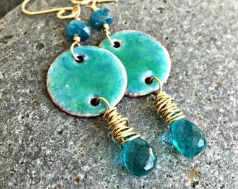 Hand Made Enamel Drop Earrings, Gold Filled Or Sterling Silver