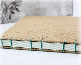 ON SALE Blank Art Journal 8x8 Journal Watercolor Journal Mixed Media Journal Sketch Journal Hand Bound Book Burlap Journal Coptic Stitch Art
