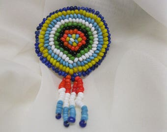 Vintage Indian Bead Pin Brooch Native American Jewelry