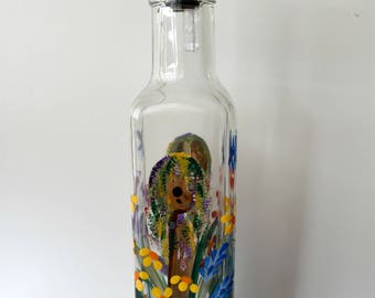 Hand Painted Glass Pour Bottle, Soap, Oil, Vinegar Bottle, Purple Red Yellow Orange Blue Wildflowers  w/ Birdhouses and Bluebirds