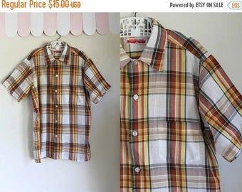 20% off SALE vintage 1960s boy's plaid shirt - GOLDEN GLOW orange & yellow button down / 14yr