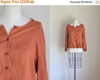20% off SALE vintage 90s flax blouse - TERRA COTTA linen top / S/M