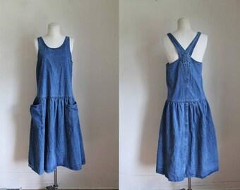 vintage 1980s dress - JUMPING JUMPER blue denim dress / M