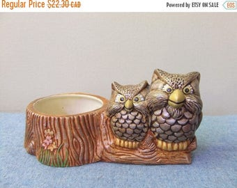CLEARANCE 1970s Owl Planter - Owls on a Log Ceramic Hand Painted Mini Planter Home Decor Collectible 70s Woodland Owls