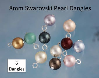 6 (Six) 8mm Swarovski Pearl Dangles- silver, gold, gunmetal, antique brass or copper plated loops - simple loop wire wrapped - DIY Jewelry