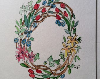 Watercolor Wreath Card / Hand Painted Watercolor Card