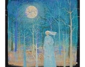 Full Moon Magic, small original painting, Art, Painting on Canvas , original artwork, 8 x 8 inches,home decor,wall art
