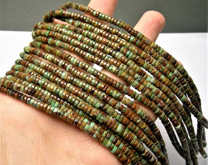 African Green opal - 4mm - HEISHI bead - 192 beads - full strand - green opal  Heishi rondelle - RFG1465