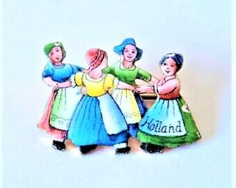 Enamel Holland Souvenir Brooch... Hand Painted Children... Traditional Dutch... c1930s-50s