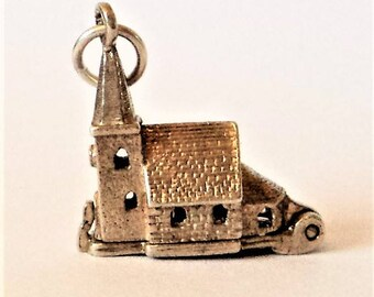 Opening Church Wedding Charm... Sterling Silver... Hinged (b)