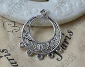 12pcs Flower Circle Charm Connectors Antique silver Tone,earring Connector Dangle, pendant findings,pendant charm