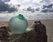 Japanese Glass Fishing Float, Bubbles, Frosted, Alaska Beachcombed