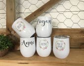 Bridal Party Wine Cups - Wedding Wine Glasses - Bridesmaid Gift - Mother of the Bride - Mother of the Groom - Wedding Party Wine Tumblers