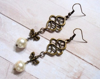 White Pearl Earrings with Celtic Designs and Bows (3749)