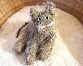 RESERVED FOR JULIE / Goldie, Collectible Cat. gift for cat lover, cat sculpture, fibre art, posable flexible cat, cat art, cat art