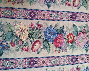 Over 2 Yards Border Floral Print Fabric by Joan Kessler,Cotton Fabric,Quilting Fabric,Fabric Destash Sale, Roses Flowers Heavy Cotton Fabric
