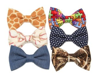 Choice of 1 Boys Clip On Bow Tie ~ Choose Giraffe Baseball Denim Autism Awareness Navy White Dots or Duckweed Camouflage ~ Free Ship in USA