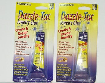 Beacon's Dazzle-Tac Jewelry Glue  2 Tubes 1oz Tubes Clear Quick Grab Adhesive 9172