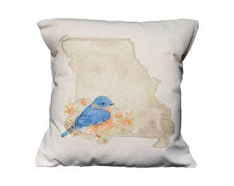 MO Watercolor Floral State Pillow   Cotton Canvas Pillow   Pillow Form Included