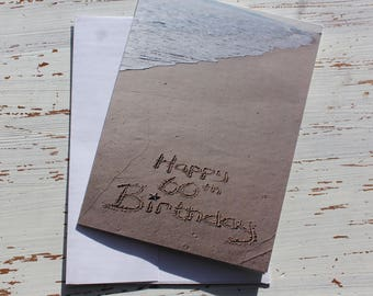 Happy 60th Birthday Beach Writing, Sand Writing, Card, Ocean, Beach, Photo Card,