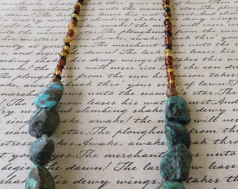 Turquoise Colored Chunky Stone Nugget Bead And Glass Bead Necklace