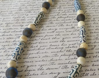 Blue And Ivory Toned African Bone Bead Recycled Sea Glass And Wood Beaded Necklace