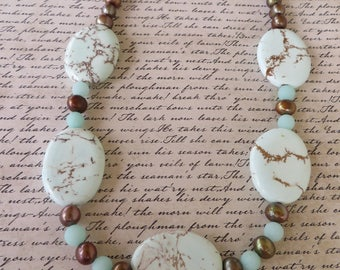 Howlite And Chocolate Baroque Pearl Beaded Necklace