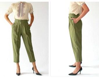 High Waist Green Crop Trousers- 25, XS, Vintage Linen, Cotton, Pleated Pants, Womens