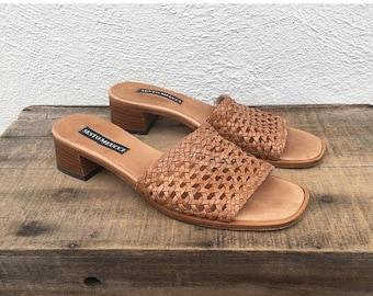 20% Off Sale 90s Vintage Woven Tan Leather Slip On Mules Boho Modernist Minimalist Italian by Sesto Meucci Ladies Size 7.5N