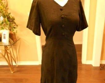 ON SALE NOW Vintage 50s Black Dress / 1950s Little Black Dress / Black Brocade Dress / Lbd Size 6 8