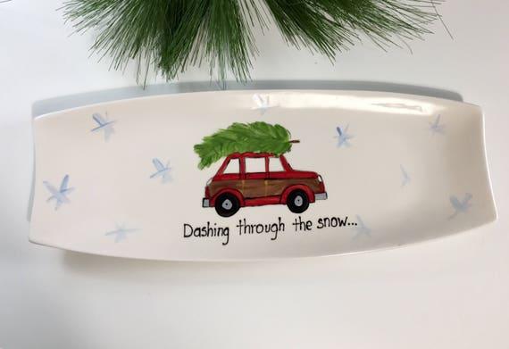 Hand painted Christmas platter, Dashing through the snow platter, vintage woody wagon platter, hand painted holiday platter, Christmas