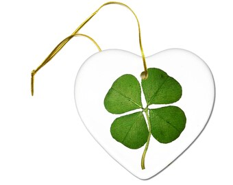 Lucky Four Leaf Clover Saint Patricks Day Ceramic Hanging Heart Ornament