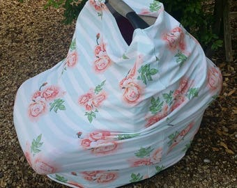 Baby Car Seat Canopy - Stretchy Car Seat Cover - Nursing Poncho - Mint Pink Floral Baby Cover - Baby Shower Gift - Multi Purpose Baby Cover