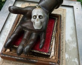 ON HOLD:  Memento Mori Carved Skull, Eyes Glowing, A Talisman for the Alchemist, by RusticGypsyCreations