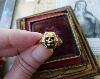Antique Gold Memento Mori Skull Ring, Talisman for the Passionate, offered by RusticGypsyCreations