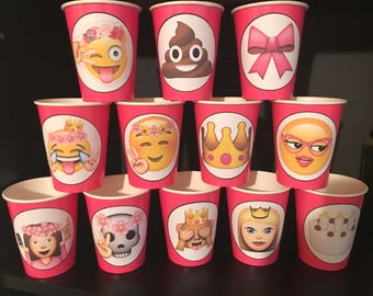 12 Apple iPhone Emoji Smiley Faces Birthday Party Paper Cups | 9 ounces