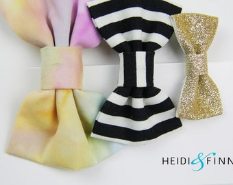 SALE  Watercolor Hairbow SET of 3 Hairclip  Holiday pink gold glitter