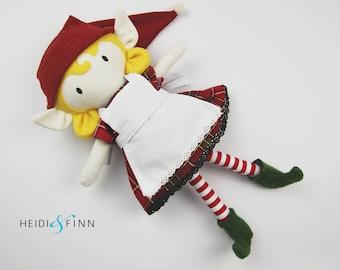 OOAK Holiday Elf Mini Pals soft rag doll keepsake gift  ready to ship girl blond