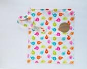 Sale, Wet bag, water resistant, cloth diaper bag, swimsuit, beach, baby, Medium, birds, rainbow, tweet, nature, girls