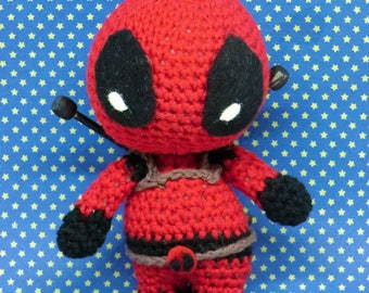 Deadpool amigurumi collectable doll. hand made to order