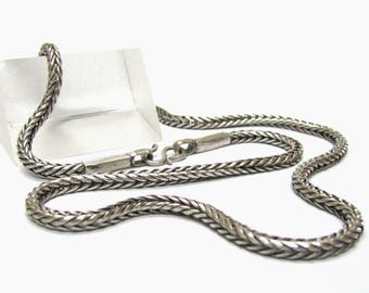 """Vintage Indian Silver Snake Chain, 4 mm, Genuine, Solid, Square, High Grade Silver, Old Indian Chain, Indian Rope Chain, 63cm (25""""),51 Grams"""