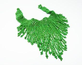 Green Bib Necklace - Art Deco Flapper Era Seed Bead Choker - Vintage 1920s Glass Beaded Jewelry - Woven Beads - Long Dangling Bead Chains