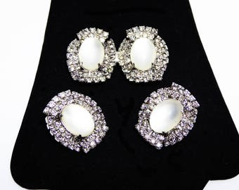 Clear Rhinestone Brooch & Earring Set - White Moon Glow Cabochon - Oval Shape Clip on Earrings and Pin, Vintage 1950s 1960s Costume Jewelry