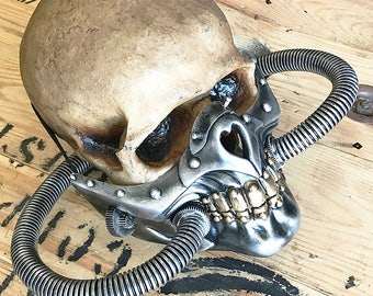 Steampunk Mask - Silver and Gold MAD MAX Fury Road 'Imperator Joe' Post-Apocalyptic Industrial Mask with Tubes and Spikes - Burning Man Mask