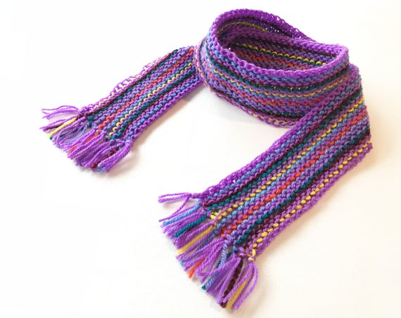 Jazzy Stripe Pixie Scarf - Colourful Scarf for Kids - Kid's Purple Striped Scarf with multi-coloured design - unisex purple scarf for child