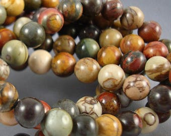 "Jasper Beads, Red Creek Jasper, Round Jasper Bead, Semi Precious Bead, Colorful Beads, 6mm Beads - 16"" Inch Strand"