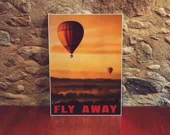 Hot Air Balloons 12x18 Poster Art Print Fly Away Balloon Art Nursery Art For Children Hot Air Balloon Decor Yellow Wall Art