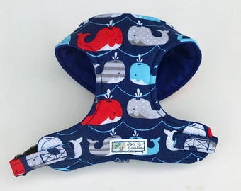 Nautical, Whale Comfort Soft Dog Harness - Made to Order -